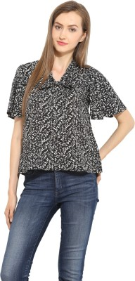 Label VR Casual Short Sleeve Printed Women's Black Top