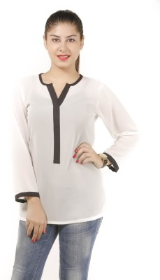 Lady Stark Formal 3/4 Sleeve Solid Women's White Top