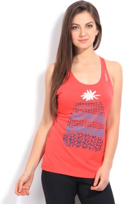 Reebok Casual Sleeveless Printed Women's Red Top