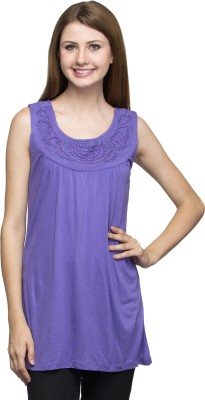 One Femme Party, Formal Sleeveless Solid Women's Purple Top