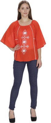 Famous by Payal Kapoor Casual Butterfly Sleeve Woven Women's Orange Top