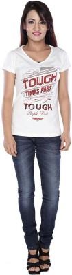 EEIA Casual Cap sleeve Printed Women's White Top