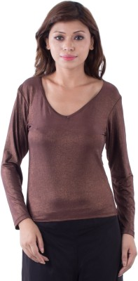 Ada Creations Casual Full Sleeve Woven Women's Brown Top