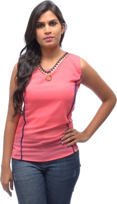 Shanu Collection Casual Sleeveless Solid Girl's Pink Top