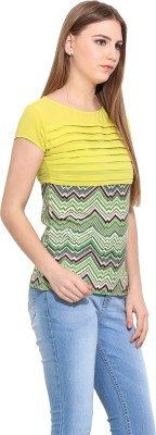 Desi Urban Casual Sleeveless Self Design Women's Green Top