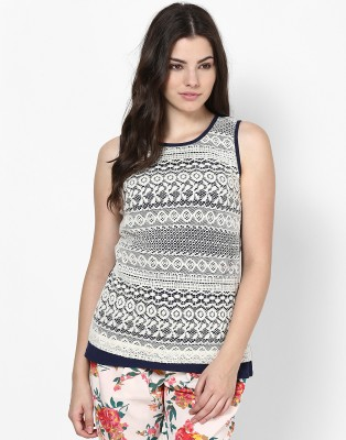 Athena Casual Sleeveless Solid Women's White, Black Top at flipkart