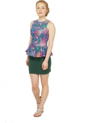 Disciple Casual, Party, Festive, Lounge Wear Sleeveless Self Design Women's Multicolor Top