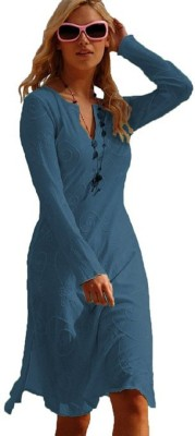 Eurodif Design Party, Beach Wear, Festive Full Sleeve Embroidered, Solid Women's Blue Top