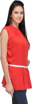 Shree Krishna Enterprise Party Sleeveless Solid Girl's Red Top