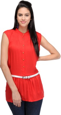 Maxi Fashion Casual Sleeveless Solid Women's Red Top