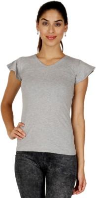 A N, E Casual, Sports, Lounge Wear Short Sleeve Solid Women's Grey Top
