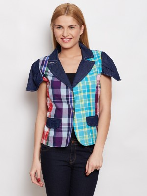 Young Threads Casual Short Sleeve Checkered Women's Multicolor Top