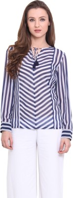 Ridress Casual Full Sleeve Striped Women's Blue, White Top