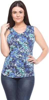 MOD PLUSS Casual Sleeveless Printed Women's Blue Top