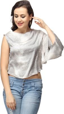 Vodka Fashion India Casual, Party Kimono Sleeve Animal Print Women's Grey Top