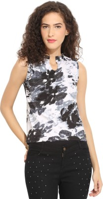 Northern Lights Casual Sleeveless Floral Print Women's Black, White Top