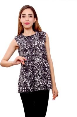 GMI Casual Sleeveless Printed Women's Black, White Top