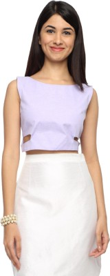 Francisca & Dominique Casual Sleeveless Solid Women's Purple Top