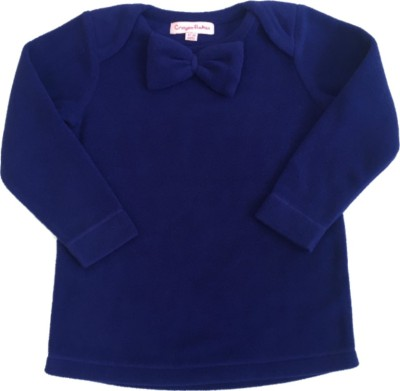 Crayon Flakes Casual Full Sleeve Solid Baby Girl,s Dark Blue Top