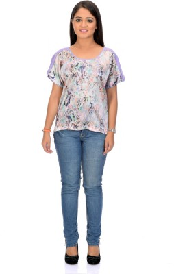 Instinct Casual, Festive Short Sleeve Graphic Print Women,s Purple Top