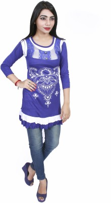 Nishaan Party 3/4 Sleeve Floral Print Women's Dark Blue Top
