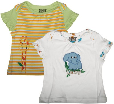 Mee Mee Casual Short Sleeve Printed Baby Girl's White, Yellow Top