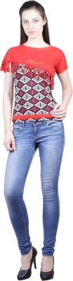 Western World Casual Cap sleeve Printed Women's Red, Black Top