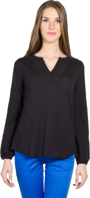 My Addiction Casual Full Sleeve Solid Women's Black Top