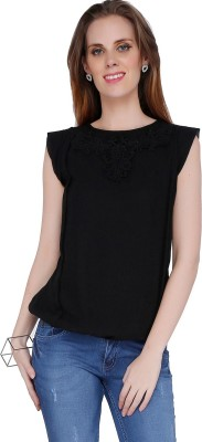 Mineral Casual Cape Sleeve Solid Women's Black Top