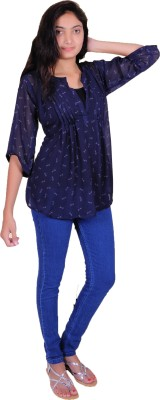 jay bhavani fashion Casual 3/4 Sleeve Printed Women's Blue Top
