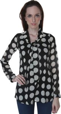 Rigoglioso Casual Full Sleeve Polka Print Women's Black, White Top