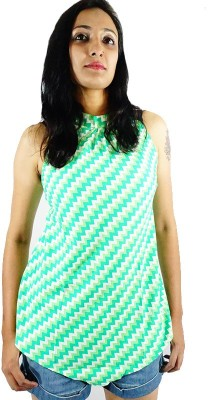 ShopMore Casual Sleeveless Checkered Women's Green Top