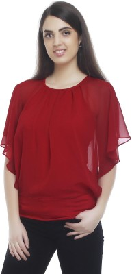 20Dresses Casual Short Sleeve Solid Women's Red Top