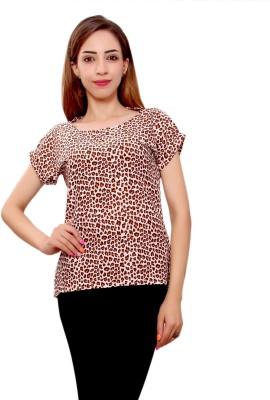 GMI Casual Short Sleeve Printed Women's Multicolor Top