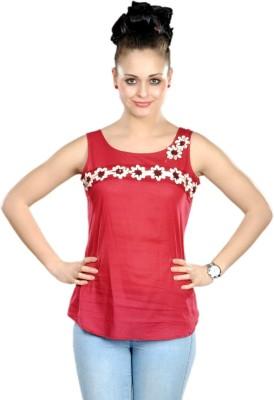 Shabari Casual Sleeveless Printed Women's Red Top
