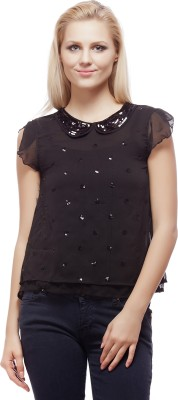 Clo Clu Party Short Sleeve Embellished Women,s Black Top