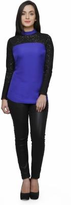V&M Casual Full Sleeve Self Design Women's Blue Top