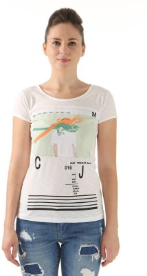 Monte Carlo Casual Short Sleeve Graphic Print Women's White Top