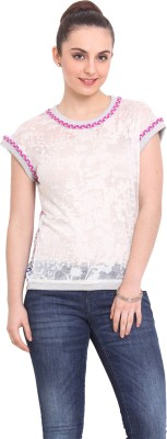 RSVP Cross Casual Short Sleeve Solid Women's White Top