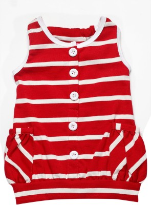 Little Kangaroo Casual Sleeveless Striped Girl's Red Top