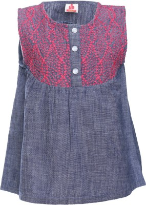UFO Casual Sleeveless Embroidered Girl's Grey Top