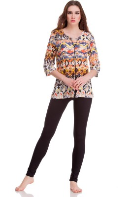 Private Lives Casual 3/4 Sleeve Printed Women's Multicolor Top