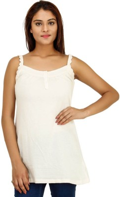 Opiumstreet Casual Sleeveless Solid Women's White Top