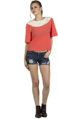 109F Casual Short Sleeve Printed Women's Pink Top
