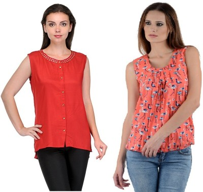 Abhinav Fashion Casual Sleeveless Printed, Solid Women's Red, Orange Top