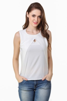 Big Pout Casual Sleeveless Solid Women's White Top