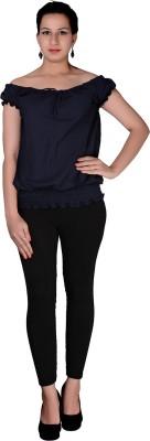 Uttam Enterprises Party Short Sleeve Solid Women's Blue Top