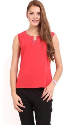 Femenino Party Sleeveless Solid Women's Pink Top