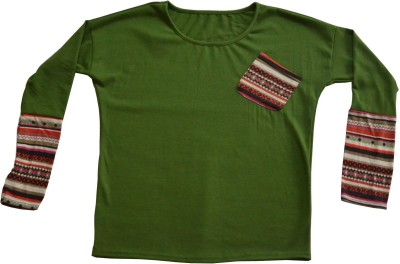 Symbol Couture Casual, Lounge Wear Full Sleeve Solid Women's Green Top
