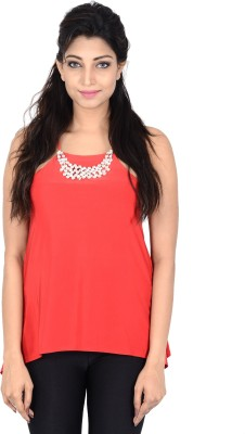 Danzon Casual, Party, Formal, Lounge Wear Noodle strap Solid Women's Red Top